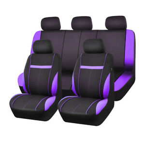 Car Pass 2020 Purple Mesh Universal 9pcs Car Seat Covers For 40 60 60 40 50 50