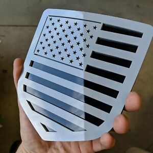American Flag Badge Fits 2009 2018 Dodge Ram Tailgate Gray On Black