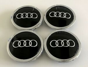 4 Pcs Black Chrome For Audi Wheel Center Replacement Hub Caps 69mm 4b0601170a