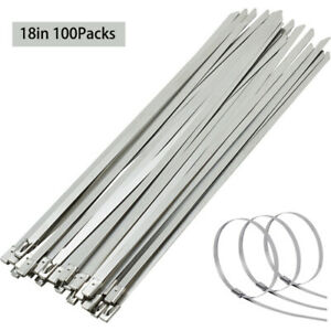 100pcs 18 Stainless Steel Cable Wire Zip Tie Wrap Self locking Assortment 200lb