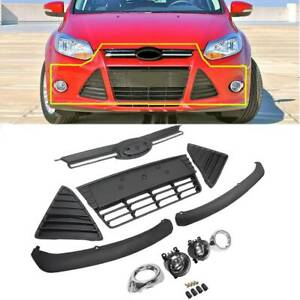 For 2012 2014 Ford Focus Complete Front Bumper Grille Cover Fog Lights Assembly