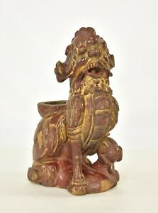 Antique Chinese Red Gilt Wood Carved Statue Sculpture Of Fu Foo Dog Lion