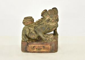 Antique Chinese Wooden Carved Statue Sculpture Of Fu Foo Dog Lion 19th C