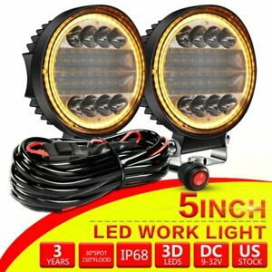 Pair 5inch Round Led Work Light Bar Spot Flood Offroad Driving Truck Suv Wire