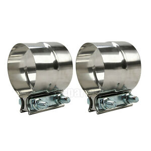 Pair 5 Band Clamp Stainless Exhaust Step Clamps Lap Joint
