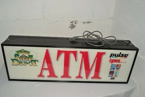 36 x 12 Large Lighted 2 sided Money Atm Lighted Sign Business Store Commercial