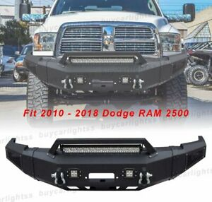 Front Bumper Textured W winch Plate led Light d ring For 10 18 Dodge Ram 2500