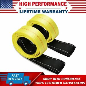 2 Pack 6ft X 2in Lifting Sling Straps With Heavy Duty Flat Loops 10000lbs Nylon