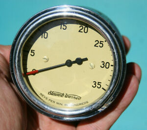 Stewart Warner Vintage Beige Yellow Creme 3500 Rpm Tachometer Curved Glass