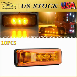 10x Amber Trailer Clearence Marker Light Sealed Truck Signal Indicator Lights Us