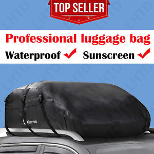20 Cubic Car Cargo Roof Bag Waterproof Rooftop Luggage Carrier Black Durable