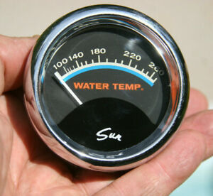 Sun Vintage 2 5 8 Blueline Water Temperature Gauge With Glass Lens