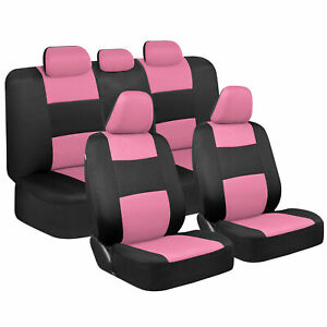 Cute Pink Car Seat Covers For Women Full Set Combo Front Rear Bench Seats