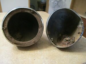 Vintage Pair Of 1935 Plymouth Chrysler Stabilite Head Lamps Buckets Used