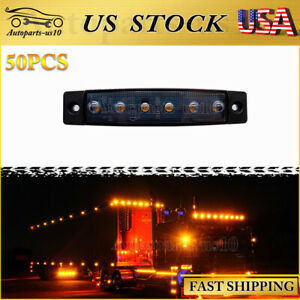50x Amber Led Trailer Marker Lights 3 8 Smoked Truck Clearence Indicator Light