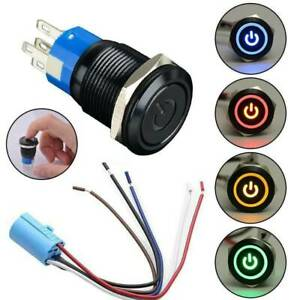 Waterproof 12v 19mm Car Led Power Push Button Metal On off Switch Latching Part