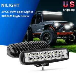Nilight 2pcs 60w Led Light Bar Spot Off Road Driving Lamps 3000lm Atv Suv Ute 6