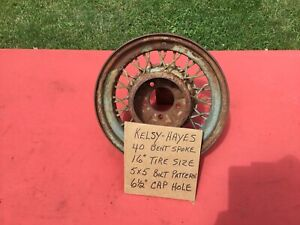 Vintage Kelsey Hayes Bent Spoke 16 Inch Wire Wheel
