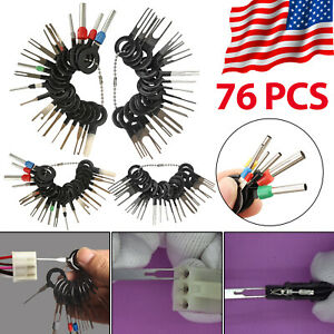 76pcs Car Terminal Removal Tool Kit Wire Connector Pin Release Extractor Puller