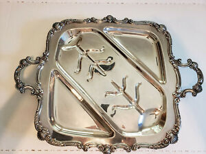 Large Vintage Silver Plated Footed Serving Platter Tray W Handles