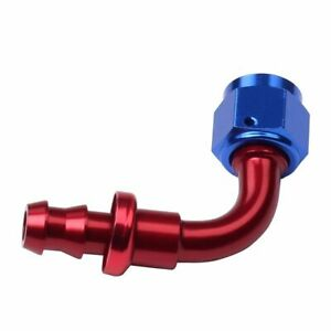 90 Degree Push Lock Hose End Fitting adaptor Oil fuel Line 6an Red blue
