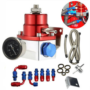 Universal Red Adjustable Fuel Pressure Regulator Kit Oil 0 100psi Gauge 6an
