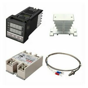 Pid Rex c100 Temperature Controller Ssr 40da K Thermocouple Heat Sink Kit Usa