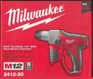 New Milwaukee M12 Lithium ion Cordless 1 2 Sds Plus 12v Rotary Hammer 2412 20