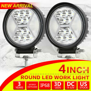 2x 4inch Round Cree Led Work Lights Combo Beam Offroad Fog Driving Light 24v 5