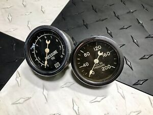 Original 2 5 8 Stewart Warner Crescent Pointer Fuel Pressure Gauges Rat Rod