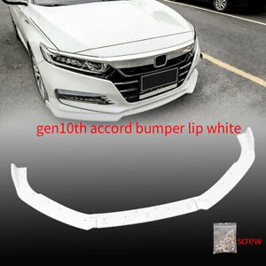 3pcs Front Body Bumper Spoiler Lip For 2018 2020 Honda Accord 4dr Painted White