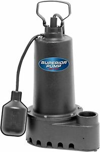 Superior Pump 92507 1 2 Hp Cast Iron Submersible Sump Pump Tethered Float Switch