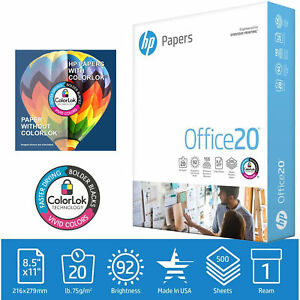 Hp Printer Paper 8 5x11 Office 20 Lb 1 Ream 500 Sheets 92 Bright Made In Usa Fsc