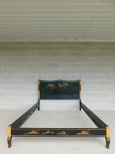 Union National Jamestown Black Lacquer Chinoiserie Decorated Full Size Bed