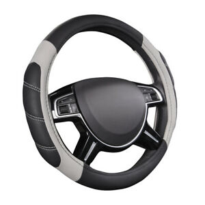 Car Pass Car Steering Wheel Cover 15 Gray Leather Waterproof For Car Suv Truck