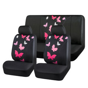 Carpass Car Seat Cover Pink Color Polyester Butterfly Washable Beautiful For Car