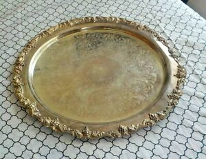 Antique Round Silverplate Serving Tray Or Silverplate Punch Bowl Underplate