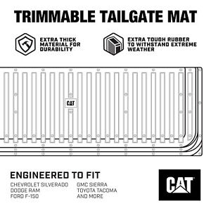 Cat Waterproof Extra Thick Rubber Tailgate Mat Pad Protector For Trucks