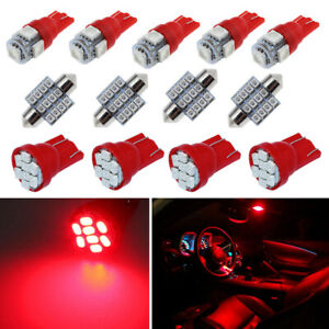 13x Red Car Led Lights Interior Package Kit Dome License Plate Lamp Bulbs