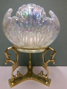 Fenton Opalescent Rose Bowl Glass Candle Holder Brass Stand Fenton Stickers NEW