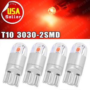 4x T10 168 192 194 2825 3030 Smd Wedge Led Instrument Trunk Dome Light Bulbs Red