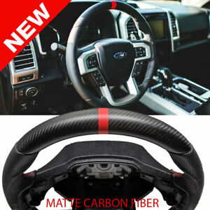 Handkraftd 2015 20 Ford F250 F 250 Steering Wheel Matte Dry Real Carbon Red Trim