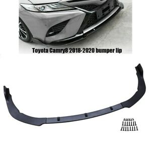 3pcs Front Body Kit Bumper Spoiler Lip For 2018 2020 Toyota Camry Carbon Style