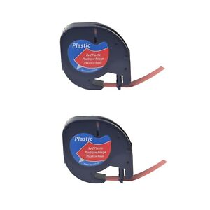 2pk Black On Red Tape Label For Dymo Letra Tag Lablemaker Lt 91333 12mm 1 2