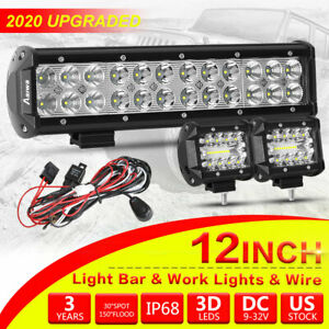 Cree Led Light Bar 4 12 inch Spot Flood Combo Beam With Off Road Wiring Harness
