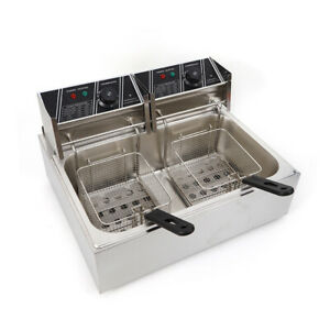 5000w 12l Electric Deep Fryer Commercial Countertop Basket French Fry Restaurant