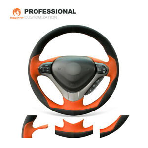 Black Suede Orange Pu Leather Steering Wheel Cover For Acura Tsx Sport Wagon