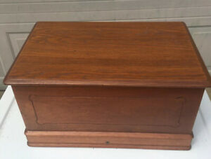 Antique Wilcox Gibbs Sewing Machine Walnut Wood Cover And Decal Original