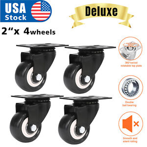 4 Pack 2 Caster Wheels Swivel Plate Casters On Black Polyurethane Usa