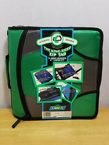 Case it Zipper Binder With 5 Tab Files D ring 4 Inch Capacity Green D 186
